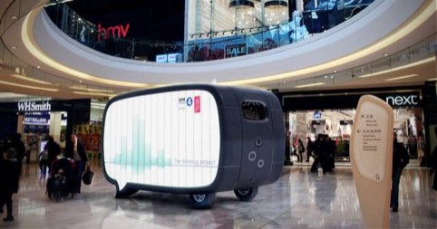 Mock-up of the pod in a shopping mall