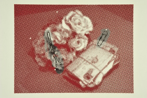 Still Life with Hair Grip and Paper Clip- inkjet/lino cut