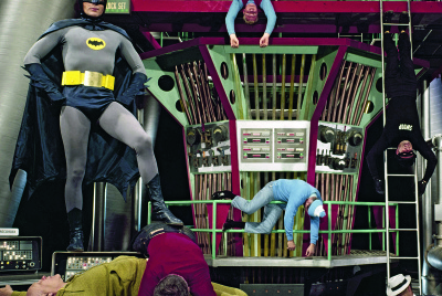 Adam West on the set of the Batman television Show, Season 1, 1966