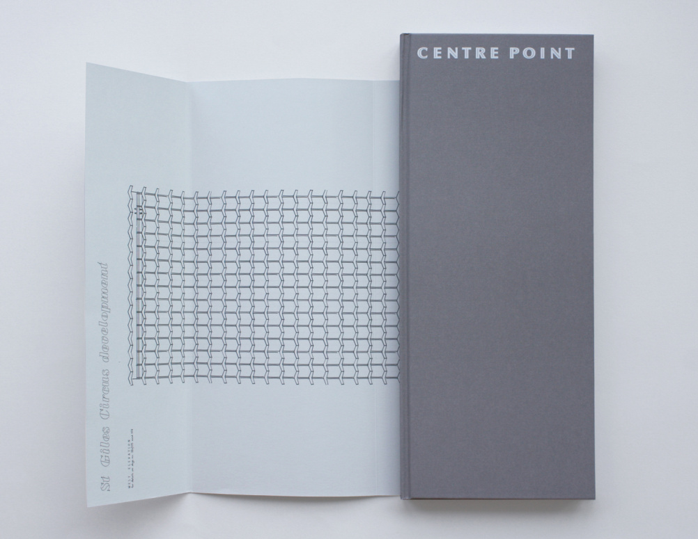 Architect Richard Seifert's original plans in the dustjacket of the Centre Point book