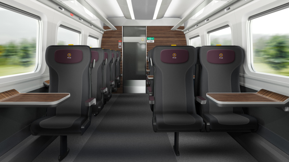 Hitachi Super Express Train first class interior by DCA Design International