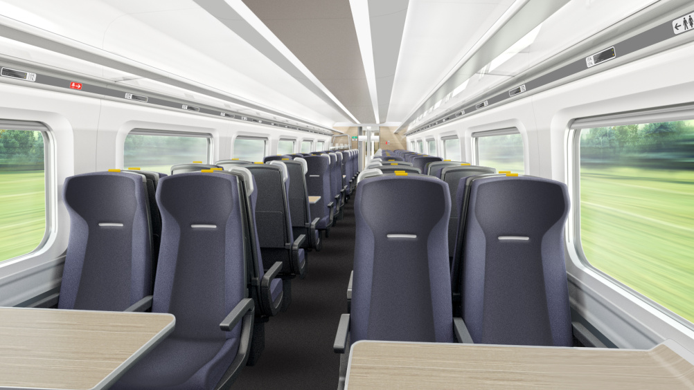 Hitachi Super Express Train standard class interior by DCA Design International