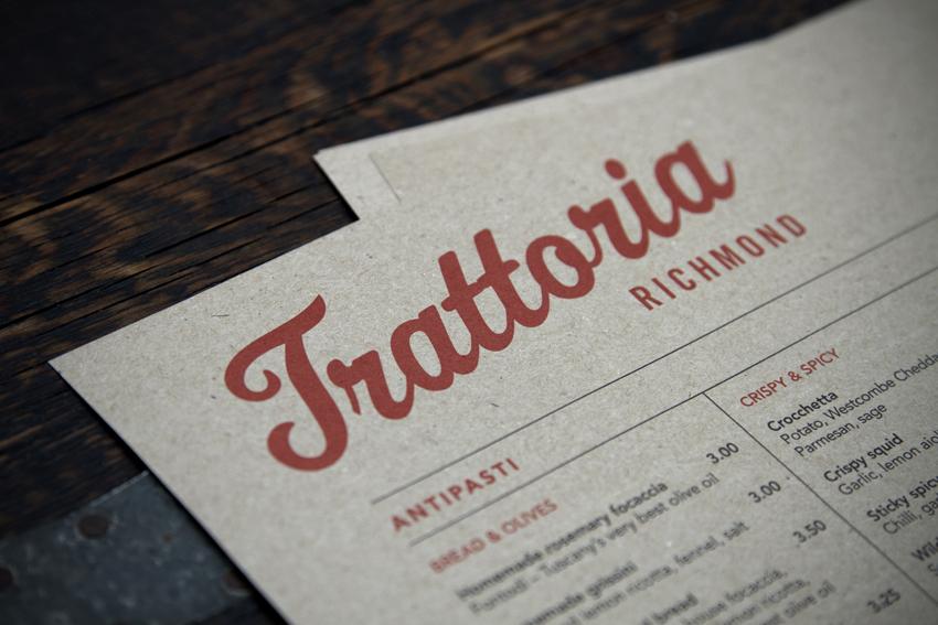 Trattoria Richmond menu.