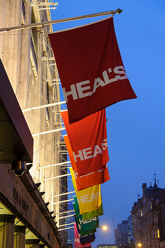 The current Heal's branding, shown at the Tottenham Court Road flagship store