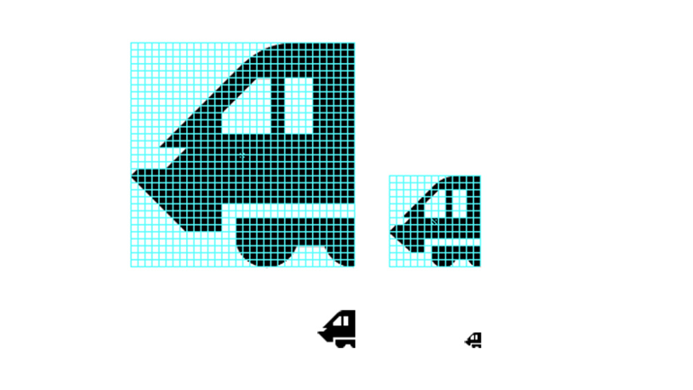 32-pixel and 13-pixel versions of the train icon