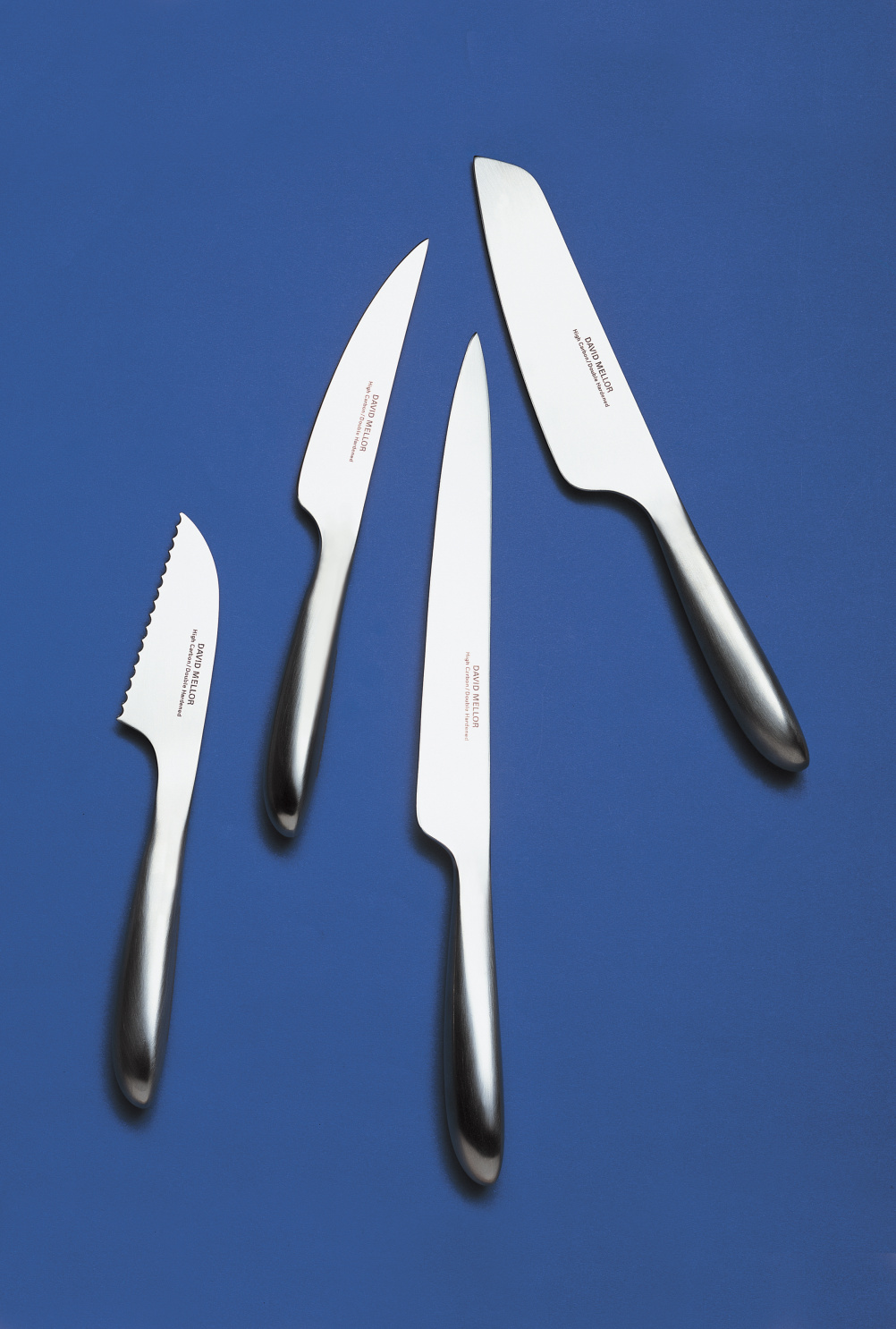 Stainless steel kitchen knives designed by David Mellor in 2002