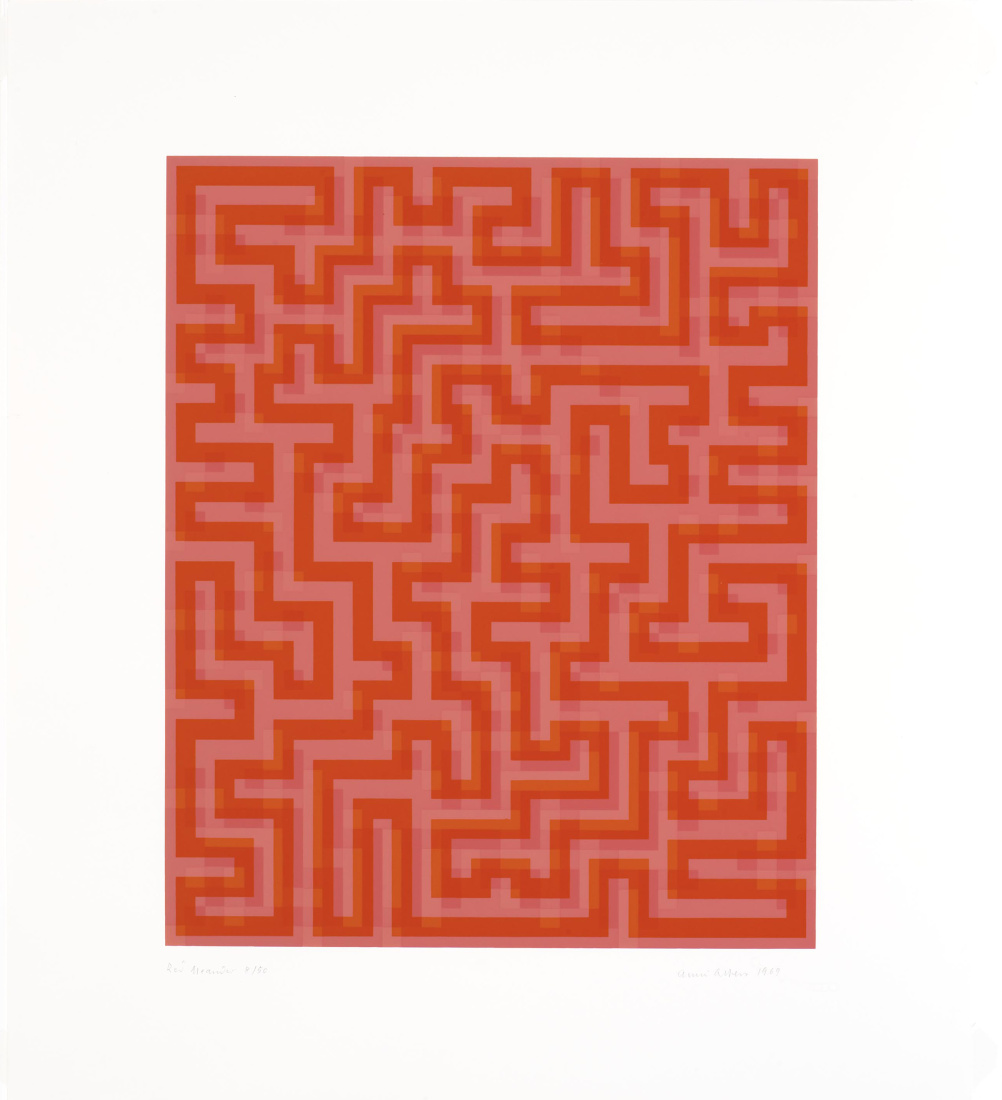 Anni Albers, Red Meander I, 1969-70, Screenprint on Mowhawk Superfine Bristol paper, Edition of 50
