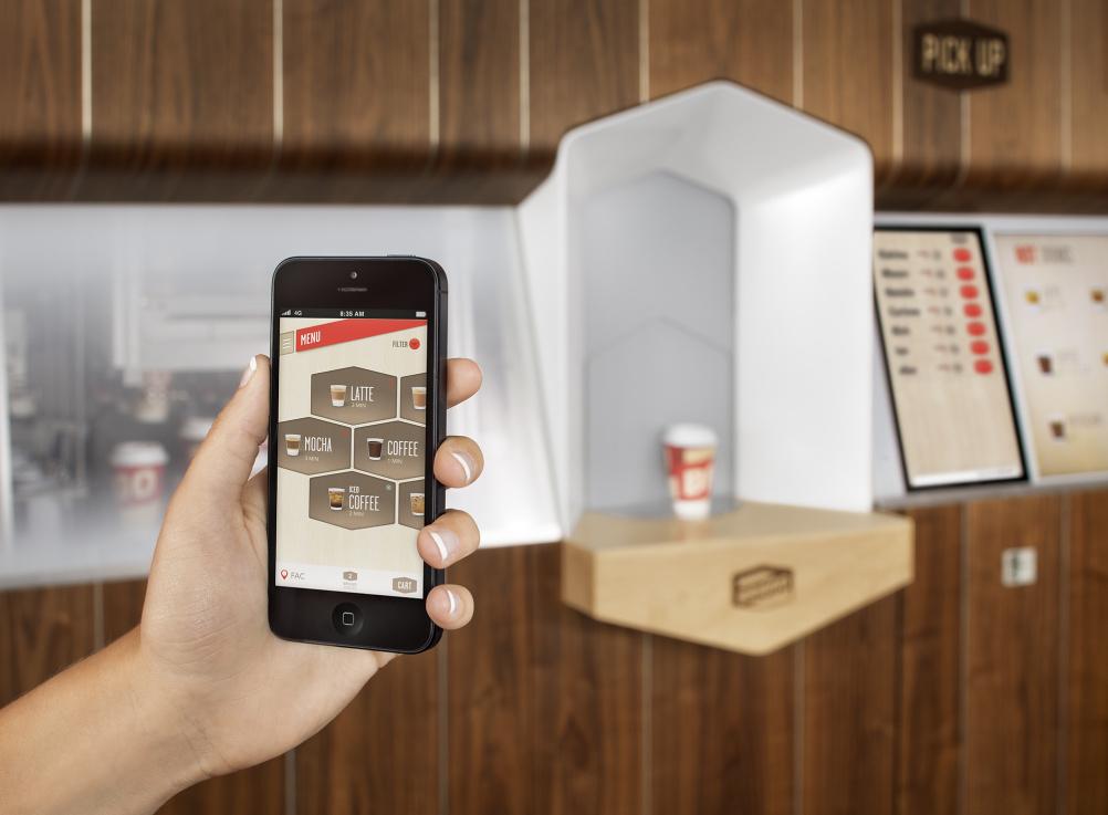 Coffee is pre-ordered via an app or website