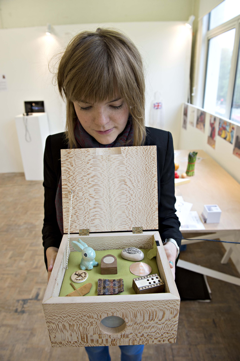 Chloe Meineck with her music memory box