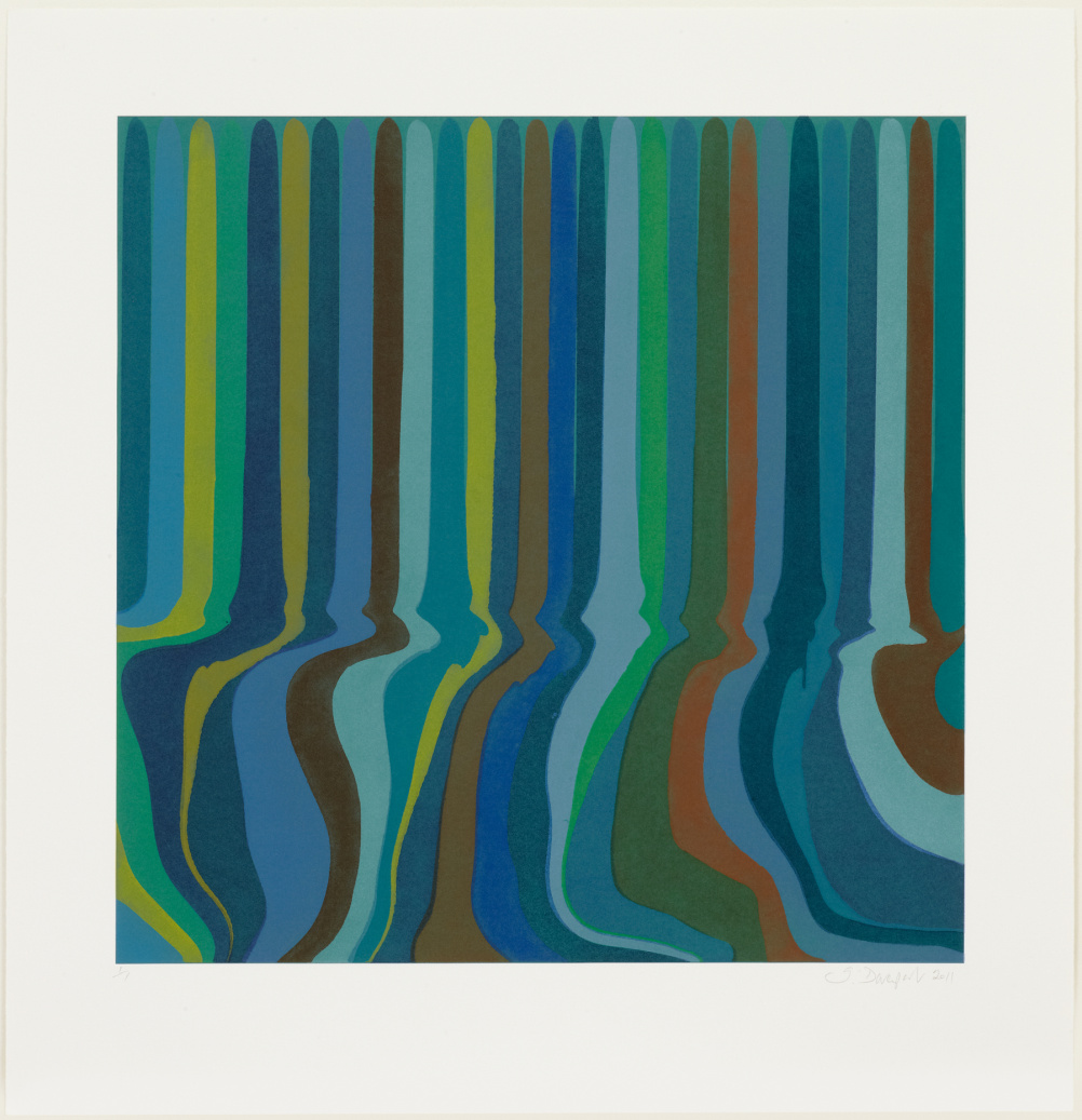 Ian Davenport, Colorplan Monoprint Green Oxide, 2012, Etched monoprint
