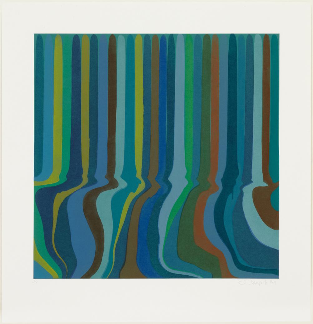 Ian Davenport, Colorplan Monoprint Green Oxide, 2012, Etched monoprint