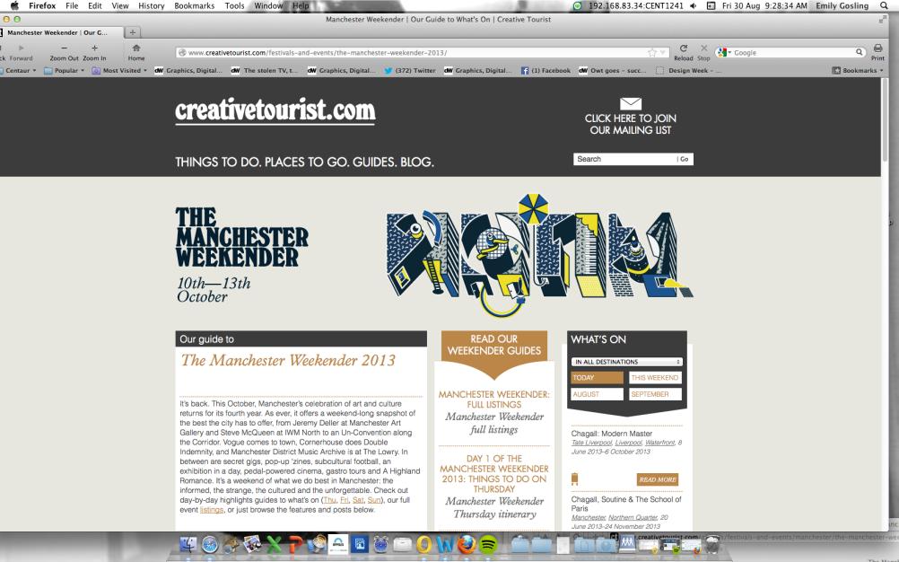 Manchester Weekender website