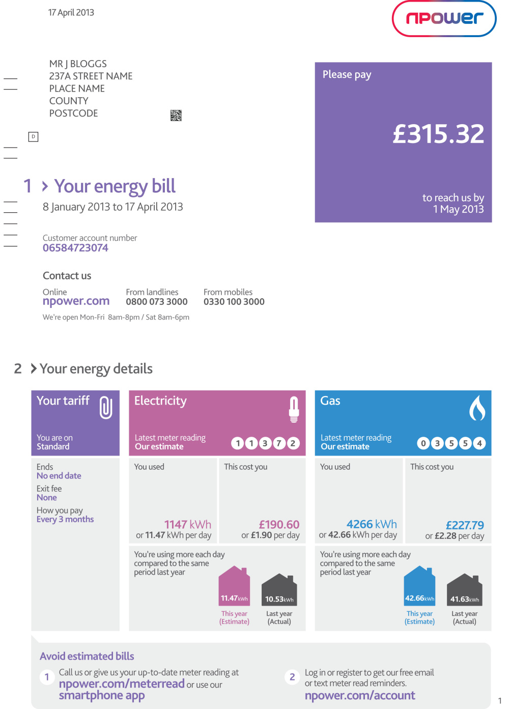 The new Npower bill
