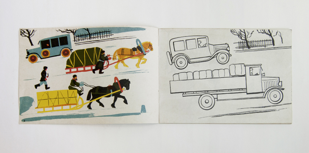 Page spreads with lorry illustration