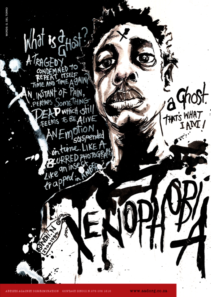 Ghost (Xenophobia), self-portrait based on experiences as an immigrant in South Africa