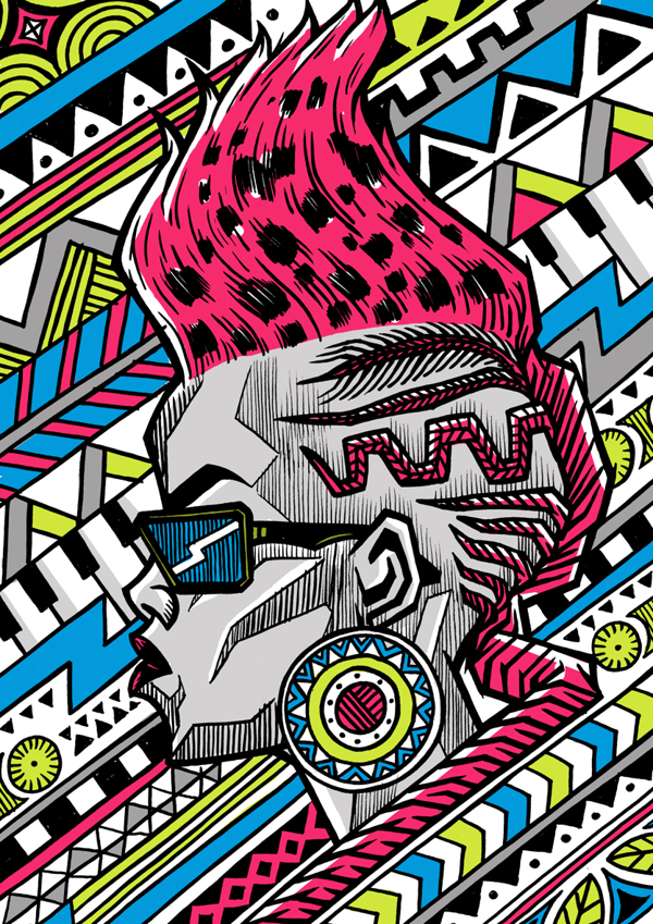 Zulu Diva, test illustration for South African musician Toya Delazy