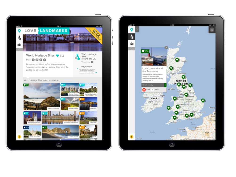 The UK can be explored with an interactive map