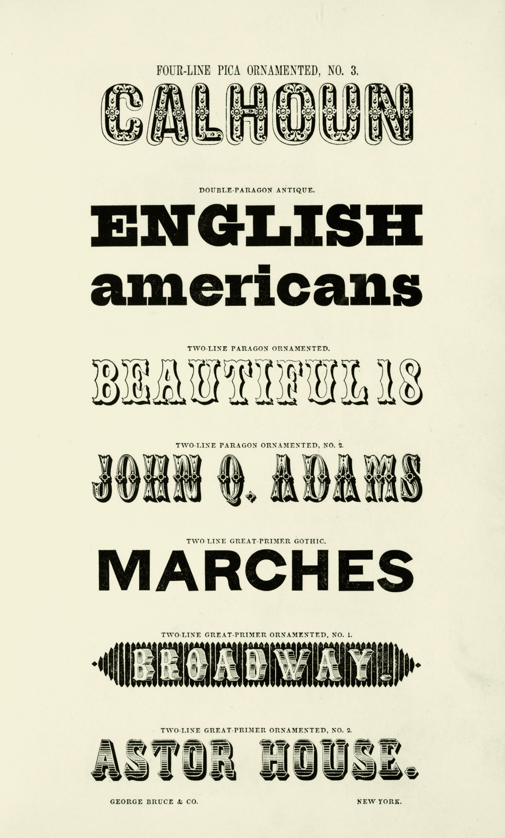 Specimens of Printing Types, George Bruce and Company, New York, 1848