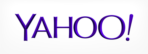 Yahoo's logo in white colourway
