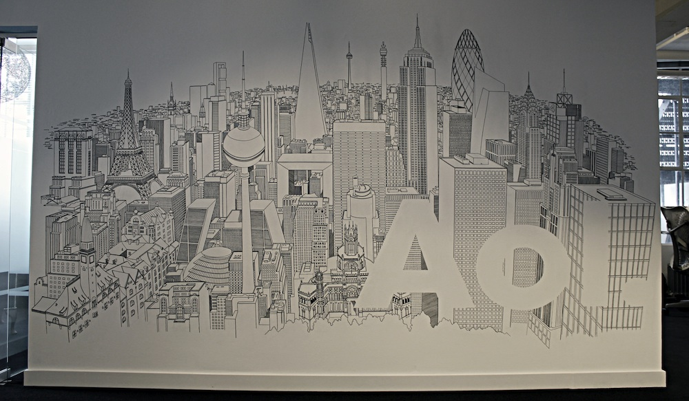 Chris Dent's AOL cityscape mural