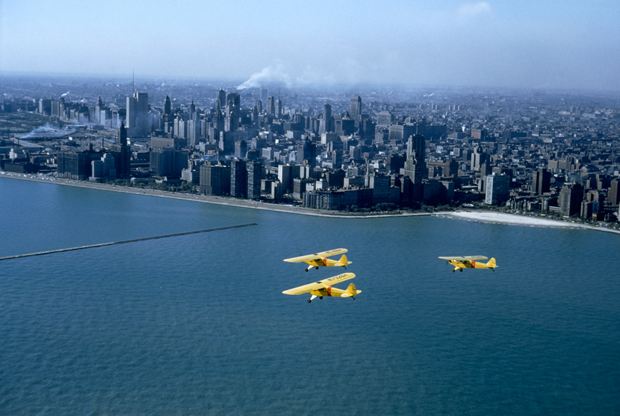 Civil defense planes patrol Chicago in case of atomic attack, May 1956