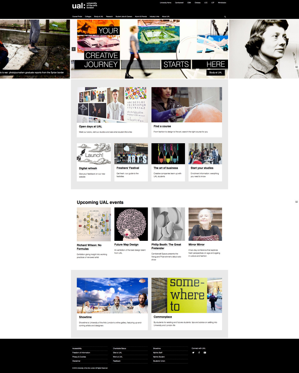 University of the Arts London home page