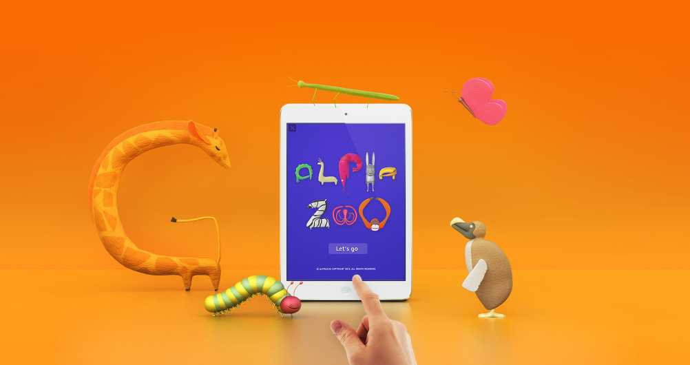 Alpha Zoo app and animals