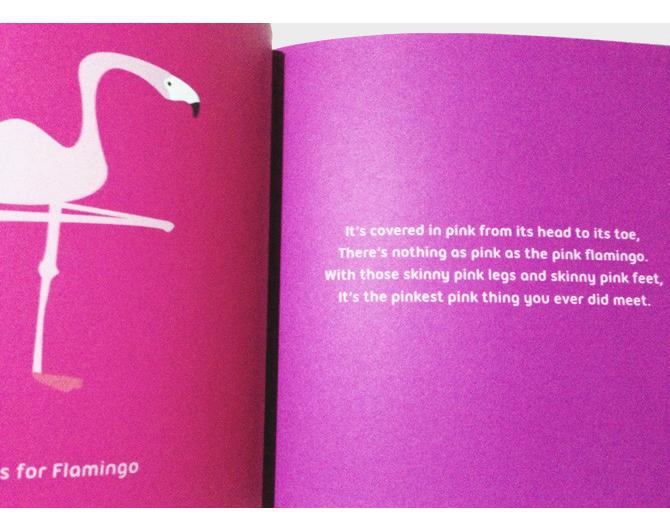 Book spread with flamingo