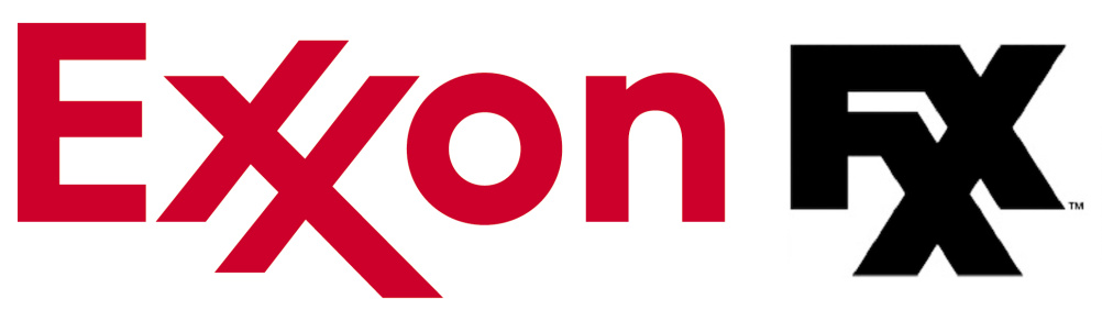 The Exxon (left) and FXX logos, both with interlocking Xs