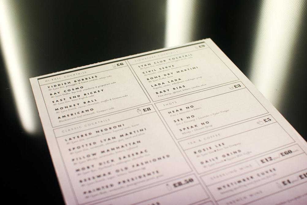 White Lyan menu
