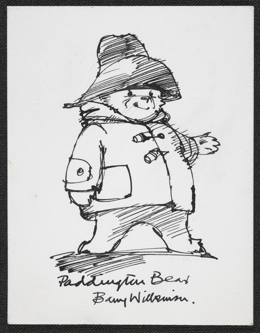 Sketch of Michael Bond's Paddington Bear by Barry Wilkinson