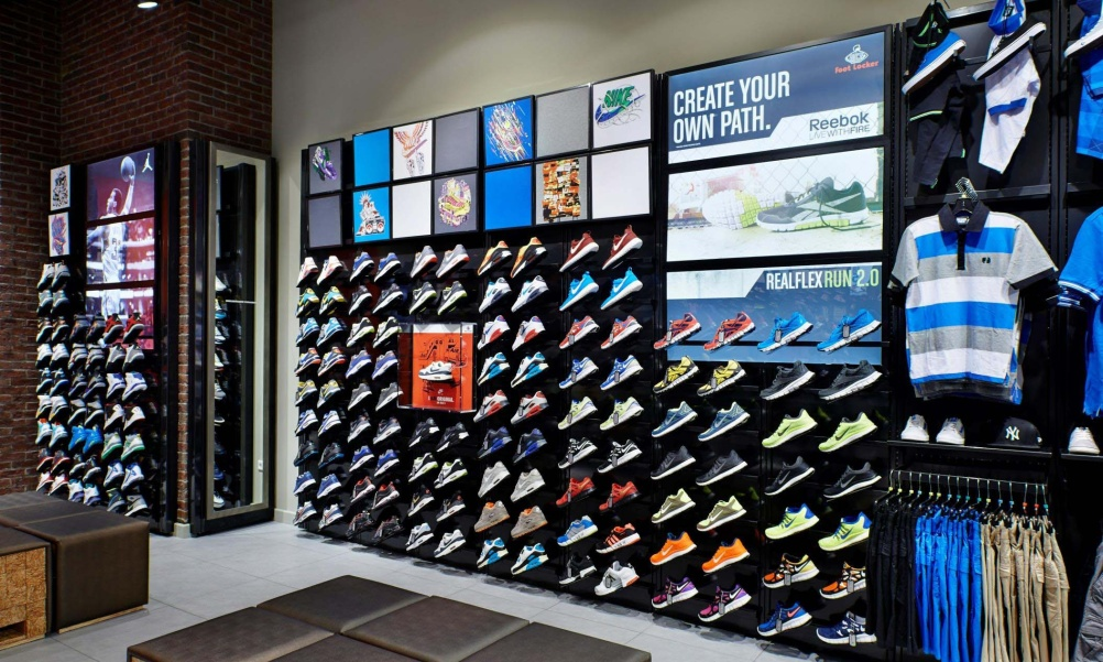 Foot Locker sneaker wall