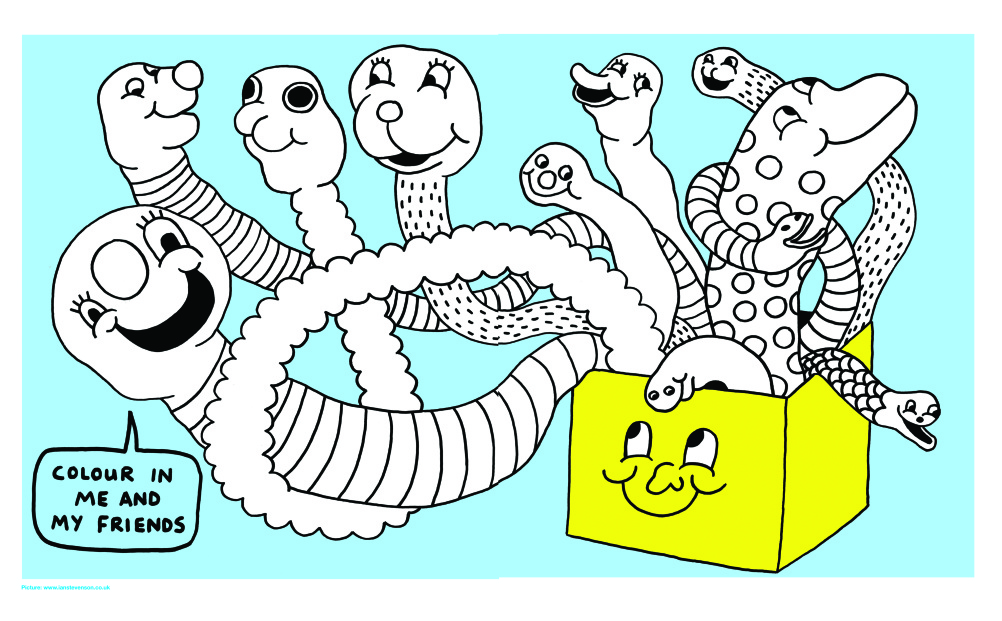 Box of snakes to colour in