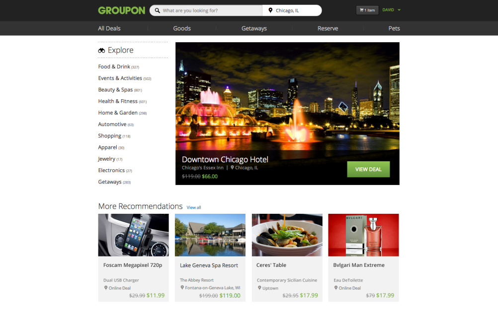 New Groupon homepage