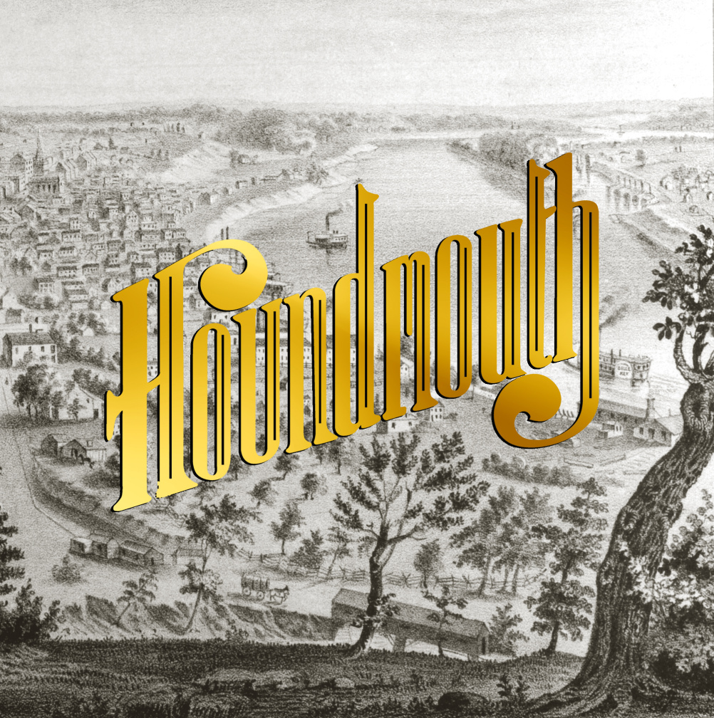 Houndmouth - From the Hills Below the City - Image from Stuart B Werge Indiana History Room, New Albany-Floyd County Public Library. Logo by Allie Mack