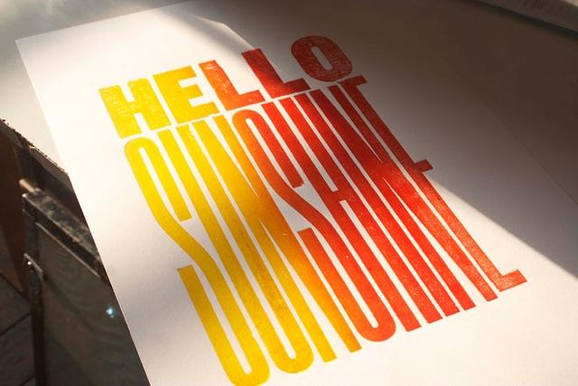 Turnbull Grey, Hello Sunshine letterpress print.