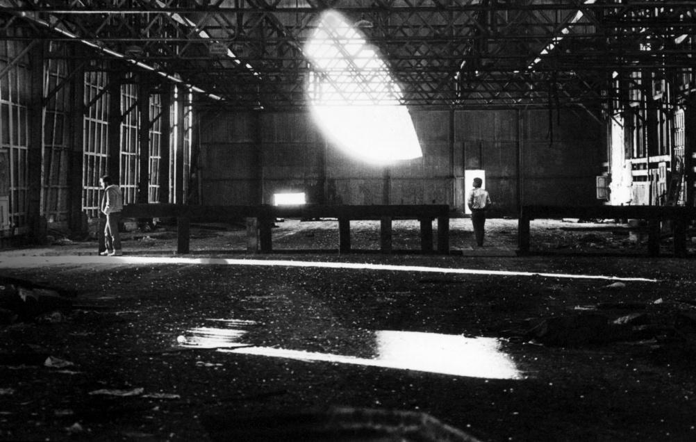 "Alvin Baltrop, Pier 52 (Gordon Matta-Clark's ""Day's End"" building cuts with two men) 1975-86"