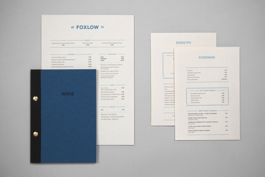 Foxlow menus