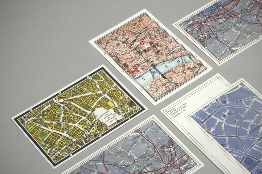 Postcards feature maps of the local area