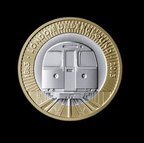 The London Underground £2 coin, designed by Barber Osgerby