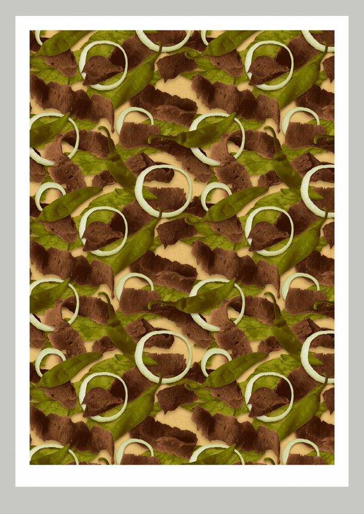 Doner kebab camouflage print