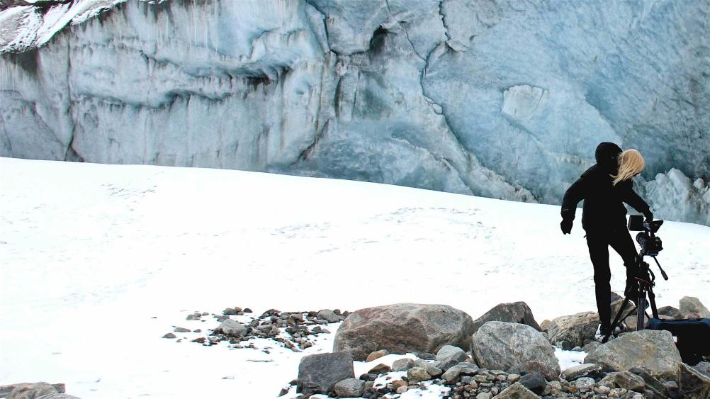 Elizabeth Ogilvie Filming at edge of Greenlandic icecap