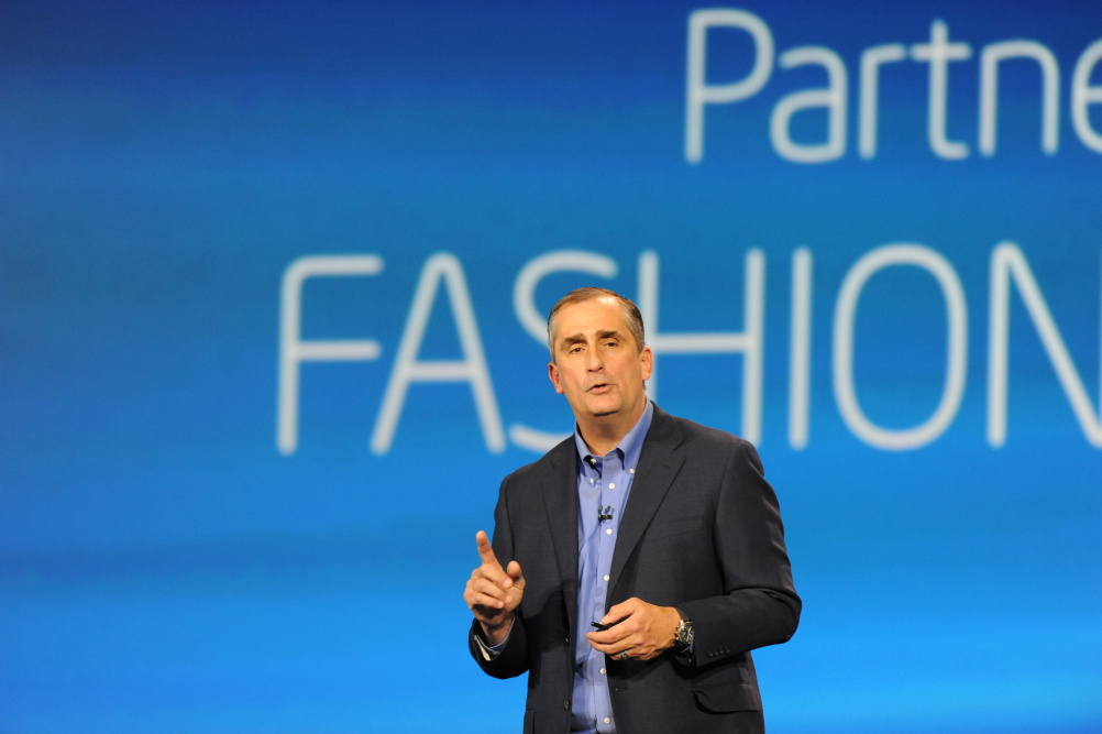 Intel CEO Brian Krzanich announcing collaborations with Barneys New York, the Council of Fashion Designers of America, and Opening Ceremony