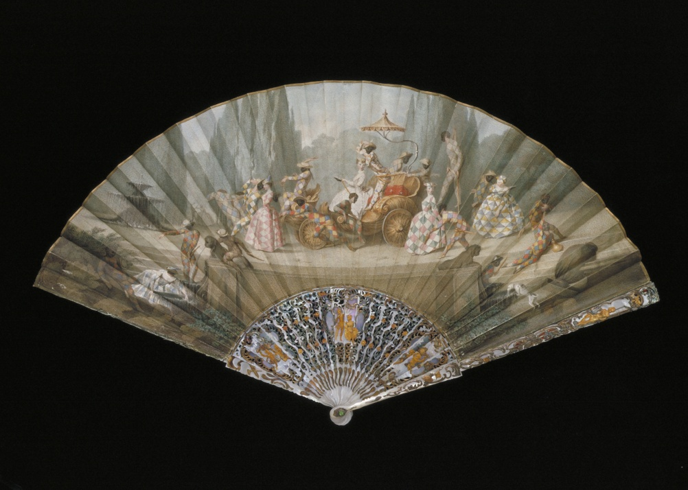 Fan with the Triumph of Harlequin, Maria Felicita Subleyras, ca. 1750, Italy