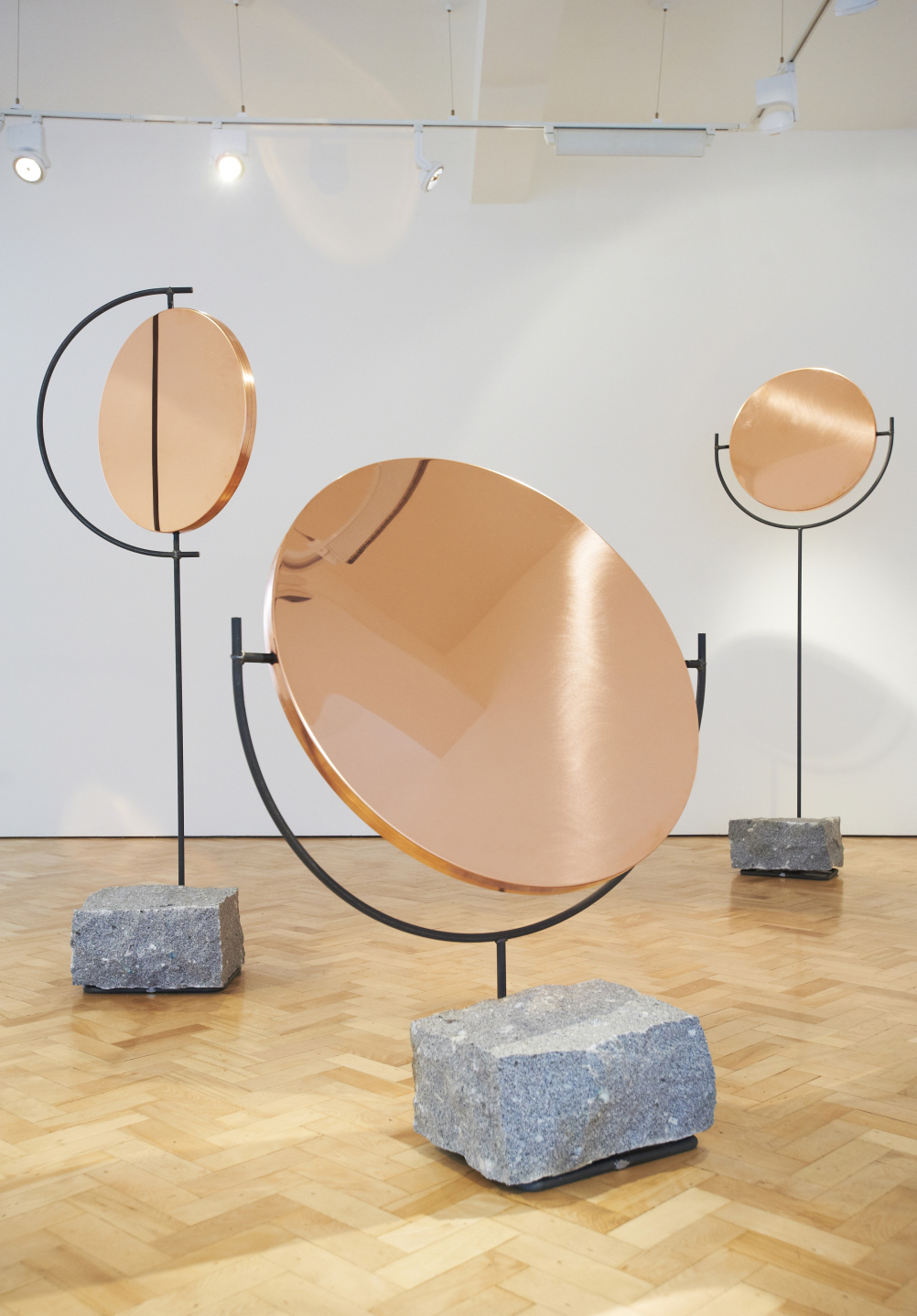 Installation view, The Copper Mirror Series, by Hunting and Narud, 2013