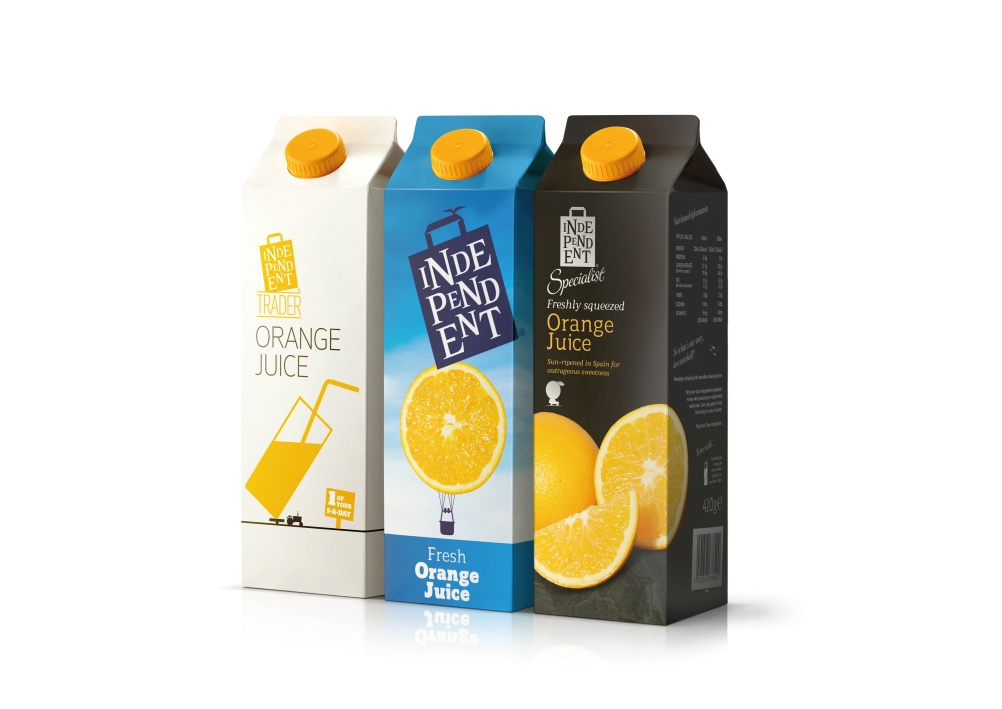 Independent orange juice in its Independent Trader, Independent and premium range Independent Specialist formats
