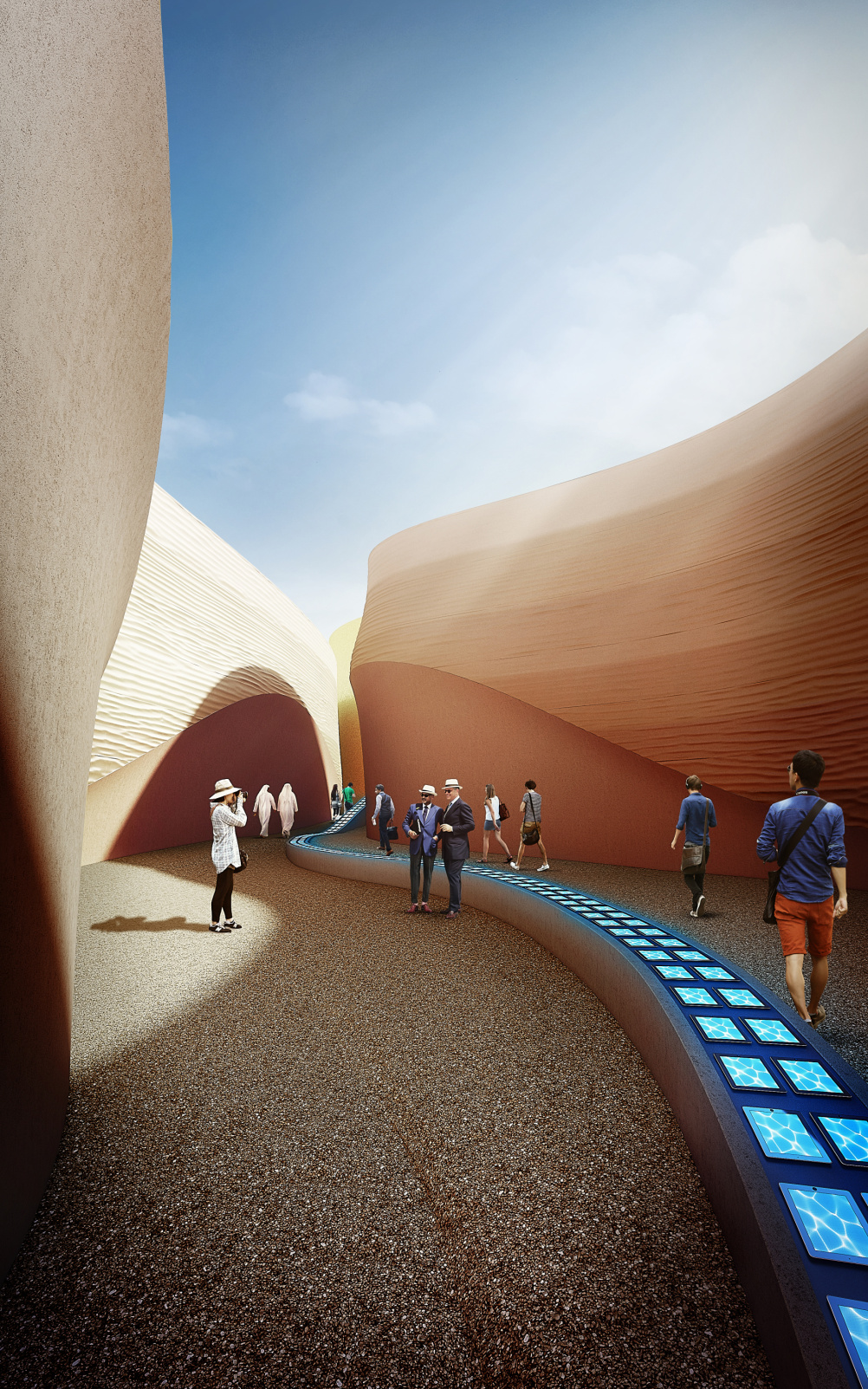The walls aim to represent sand