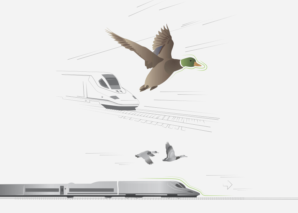 The mallard-shaped AVE S-102 train