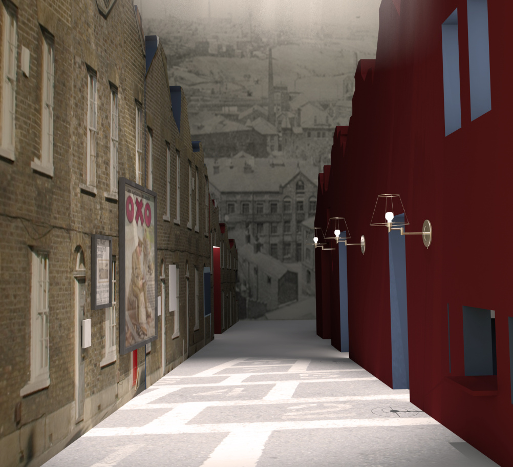 On the Street render showing the perspective of a street view with a 'real'  graphic representation of a typical Manchester street to one side, contrasted with an abstracted colour elevation opposite