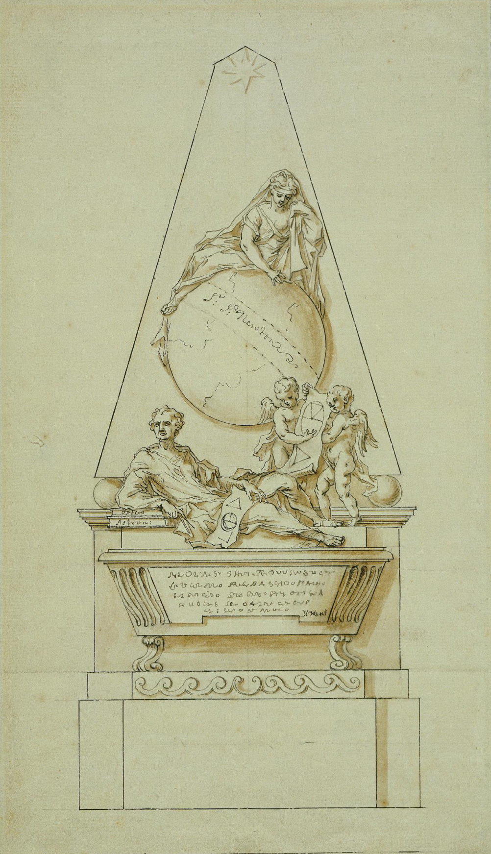 Design for the monument to Issac Newton at Westminster Abbey London c.1727.